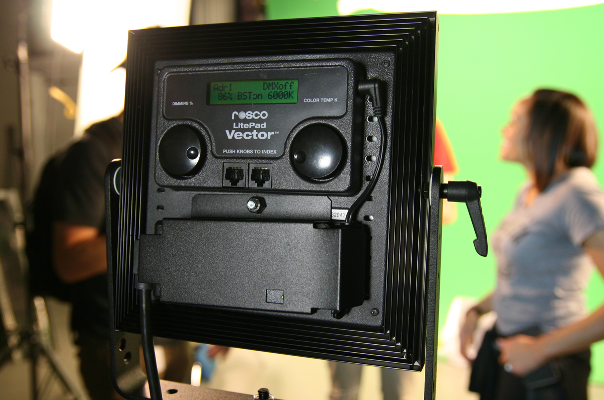 LitePad Vector working on a green screen set