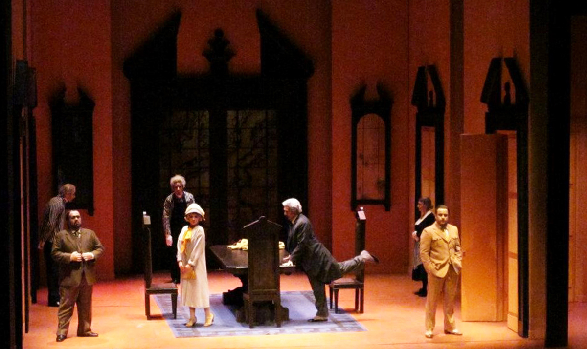 Latronica's expert use of saturated color exaggerates the farcical elements inherent in the plot of Donizetti's Don Pasquale.