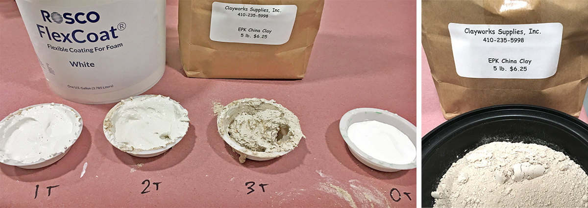 Four samples of Kaolin Clay mixed with FlexCoat.